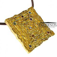http://www.parthenon-greekjewelry.com Parthenon Greek 18k Gold Square Walls Pendant, Sapphire