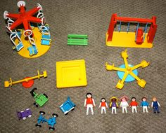 This is a wonderful vintage 1981 Geobra Playmobil #3223 Playground Set. This playground set includes: 1GREEN PARK BENCH, 1 GREEN TRICYCLE with WAGON, BLUE GO-CART (missing steering wheel), SEESAW / TEETER-TOTTER, CAROUSEL 6 SEATER, SAND BOX (missing umbrella), SPIN A-ROUND 5 SEATER or ROUNDABOUT, SWING SET WITH MONKEY BARS, BLUE STROLLER, PURPLE BABY BUGGY (missing buggy), 6 KID FIGURES, 2 HATS, and 1 MOM FIGURE (dated 1974). All pieces are in excellent (gently played with) condition…