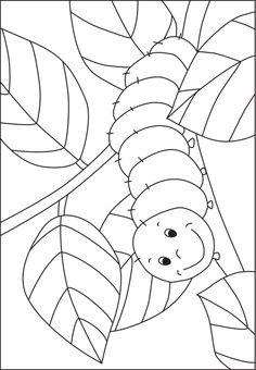 preschool grasshopper pinterest | Caterpillar coloring template for pre-K and kindergarten kids - from ...