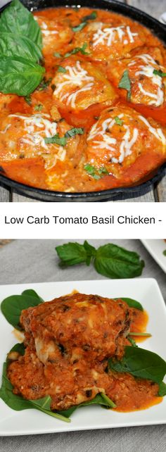 CREAMY TOMATO BASIL CHICKEN - (Low Carb - Gluten Free) Pefectly filling Keto meal with only 2 grams of carbs perserving. Deliciouls and satisfying!