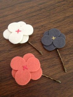 Shop for on Etsy, the place to express your creativity through the buying and selling of handmade and vintage goods. Felt Hair Clips, Flower Hair Clips, Felt Flowers, Flowers In Hair, Girls Accessories, Felt Crafts, Wearable Art, Wool Felt, Hair Pins