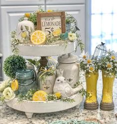 Lemon Kitchen Decor, Kitchen Decor Themes, Farmhouse Kitchen Decor, Decorating On A Dime, Farmhouse Style Decorating, Tiered Stand, Spring Home Decor, Lounge Decor, Rustic Table