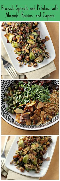 Brussels Sprouts and Potatoes with Almonds, Raisins and Capers