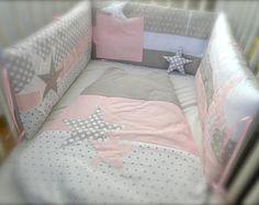 Tour de lit (lit 70x140) Etoiles rose et gris perles