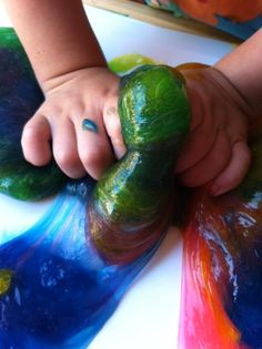 Tot Treasures: SLIME; 1 1/2 cups of Elmer's CLEAR glue and 1 1/2 cups of liquid starch. Mix it all together, separate the slime into small bowls and add a few drops of food coloring to each bowl