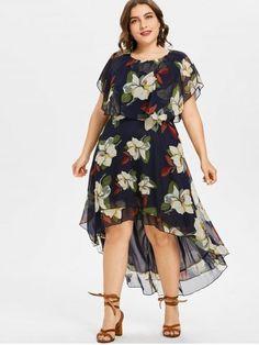 5eb2e97d79 Vestido de talle alto floral de tallas grandes - Azul De Medianoche - 5x  Vestidos Para