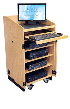 This smart podium is the perfect choice for smaller classrooms where space is a premium but plenty of storage for tech and av equipment is still needed. Mode Hijab, Storage Spaces, Monitor, Classroom, Desk, Furniture, Home Decor, Ideas, Class Room