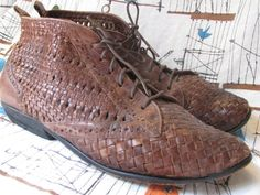Vintage 80s Woven Leather Bootie 7 Enzo Angololini by LIFEofOLWEN, $36.99
