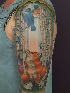 Tattoo of a Fox and Birds in a Forrest by Tattoo Artist Cracker Joe Swider who Works at a Shop in New Milford, CT Color Wheel Tattoo, Color Tattoo, Tattoo Skin, Fox Tattoo, Tattoo Portfolio, Artist Portfolio, Forrest Tattoo, Body Is A Temple, Animal Sketches