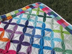 Handmade Cathedral Window Pattern Quilt made with by Tactilicious, $285.00