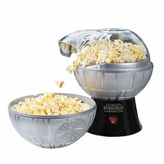 The Star Wars Death Star Popcorn Maker is no moon. It's 1100 watts of pure snack-making energy to feed your hungry cosplayers. No oil required! The top half of the Death Star doubles as a bowl.
