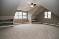 From a well-designed office to a comfortable lounge location, these imaginative perk room ideas contain style ideas. Attic Bedroom Designs, Attic Design, Attic Rooms, Loft Design, House Design, Room Above Garage, Garage Bedroom, Attic Renovation, Attic Remodel