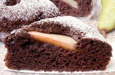 Torta+Pere+e+Cioccolato+soffice+senza+uova+latte+e+burro