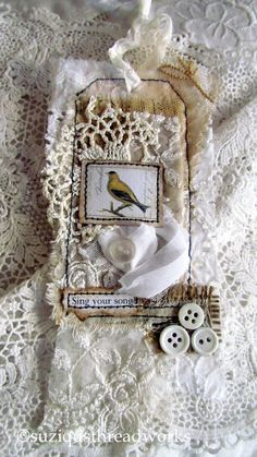 Suziqu's Threadworks: Cards - Birds and Angels Fabric Journals, Fabric Books, Art Journals, Fabric Crafts, Paper Crafts, Scrapbooking, Handmade Tags, Paper Tags, Vintage Tags