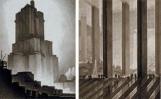 Architectural Renderings by Hugh Ferriss
