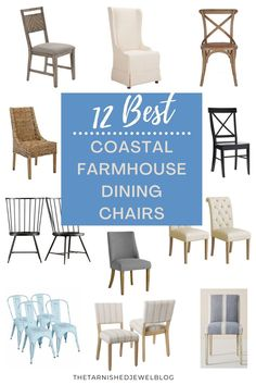 Looking for the perfect dining chairs, but feeling overwhelmed with all of the choices out there? Try 12 Best Coastal Farmhouse Dining Chairs by thetarnishedjewelblog.com. Find YOUR style! #coastalfarmhouse #coastalfarmhousestyle #coastalfarmhousechic #coastalfarmhousedecor #holidayseason #diningchairs #diningchair #diningchairset #kitchendiningroom #coastalstyle #farmhousestyle #cottagestyle Banquette Seating In Kitchen, Farmhouse Chairs, Farmhouse Kitchen Tables, Dining Room Table Chairs, Farmhouse Dining Chairs, Coastal Farmhouse, Modern Dining Chairs, Dining Room Furniture, Modern Farmhouse
