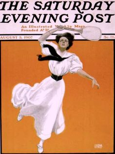 Brehm, George (b,1878)- Woman Playing Tennis- 'Sat Eve Post'- Aug, 07