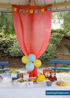 Dollar Tree tablecloth hung up to hide the poles... park birthday party. I would use pink or purple though to match the theme