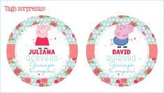 ideas de tags para las sorpresas. Pottery Party Peppa the pig.  Cafe Pintado.