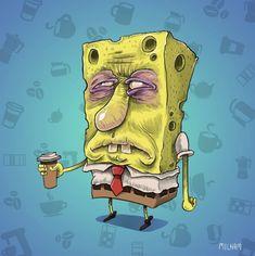 What Famous Cartoon Characters Look Like Before Morning Coffee Spongebob Before Coffee Popular Cartoons, Famous Cartoons, Cool Cartoons, Cartoon Images, Cartoon Art, Cartoon Characters, Pikachu, Spongebob Cartoon, Cartoon Download