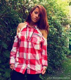 Bohemian blouse top plaid open shoulder shirt buttons Boho Hippie style Upcycled clothing OOAK by TheBohemianDream