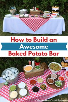 How To Build An Awesome Baked Potato Bar Ich liebe jede Topping-Bar, aber diese Ofenkartoffel-. Baked Potato Bar, Baked Potatoes, Baked Potato Toppings Bar, Cheesy Potatoes, Party Food Bars, Salad Bar Party, Birthday Dinners, Birthday Bbq, Card Birthday