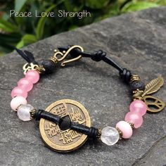 Items similar to Peace Love Strength -Chinese Coin Bracelet, Gemstone  Bracelet, Yoga Jewelry, Spiritual Jewelry, Energy Jewelry, Rose Quartz,  Jade, ... b53878c4a61
