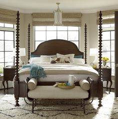 Inspired by the traditional European and captures the spirit of the Sonoma wine country farmhouse furnishings, Sonoma Four Poster Bed Frame has a collected look that is distinctly American casual.
