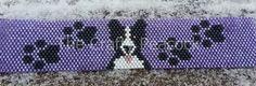 Purple peyote bracelet with Border Collie and paws design. | TheCraftyPeacock - Jewelry on ArtFire