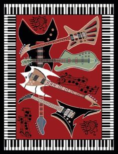 Home Dynamix Zone 2776-200 Polypropylene Musical Guitar/ Piano Rug 3-Feet 7-Inch by 5-Feet 2-Inch Area Rug, Red $9.99