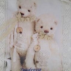 Coussin en lin blanc theme ours
