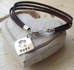 Personalised Antique Brown 3 Band Leather & Sterling Silver Charm Bracelet (for Him) by K9 Aroma | K9Aroma