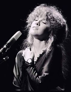 """Stevie ~ ღ☆❤☆ღ ~ singing 'Sara' ~ a lovely black and white screen capture from a """"Tusk"""" concert, 1979"""
