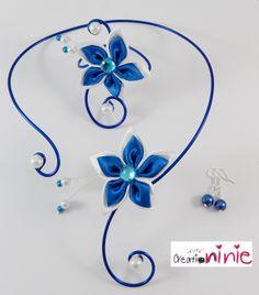 """Parure """"Agathe"""" mariage bleu roi fleur perles blanches et bleu roi personnalisable : Parure par creation-ninie"""