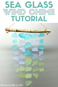 Decorate your home with a beautiful sea glass wind chime. This step by step tutorial will show you exactly what to do. Craft Kits, Diy Craft Projects, Craft Tutorials, Craft Ideas, Wind Chimes Craft, Glass Wind Chimes, Sea Glass Crafts, Shell Crafts, Easy Diy Crafts