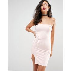 ASOS Strapless Mini Bodycon with Curved Splits ($23) ❤ liked on Polyvore featuring dresses, pink, bodycon dress, tall dresses, body con dresses, strapless cocktail dresses and strapless mini dress