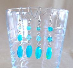Love of the Sea Aqua Glass & Crystal Dangle Earrings, Handmade Original Fashion Jewelry, Fun Beach Inspired Casual Elegant Ladies Gift Idea
