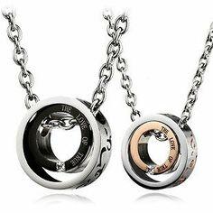 Eternal Love Rhodium Stainless Steel Cute Couple Jewelry