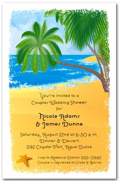 Palms on the Shore Tropical Invitations, Luau Invitations | AnnouncingIt.Com