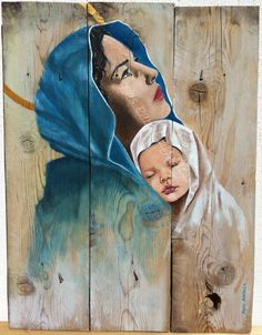 Madonne à l'enfant. Design: Agnes Alberola, peinture acrylique sur bois, portrait.