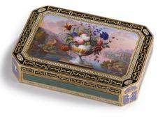 A SWISS GOLD AND ENAMEL SNUFF BOX, Geneva, circa 1830
