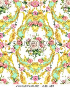 Seamless baroque composition with roses and pansies on white background