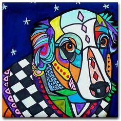 Australian Shepherd Dog Art Tile Coaster Ceramic Tile Angel Dog Red Blue GALLER
