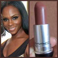 MAC Taupe or Film Noir Deep dark skin can have either a golden or burgundy undertone to it. For my deep dark golden girls, MAC's Taupe lipstick is matte and provides even coverage for those with uneve (Dark Chocolate Skin) Lipstick For Dark Skin, Dark Skin Makeup, Natural Lipstick, Nude Lipstick, Natural Makeup, Nyx Lip, Revlon Lipstick, Lipstick Colors, Lipstick Brush