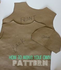 Making Your Own Pattern: a tutorial for DIY sewing crafts. Sewing Hacks, Sewing Tutorials, Sewing Crafts, Sewing Projects, Sewing Patterns, Sewing Tips, Sewing Ideas, Sewing Basics, Craft Projects