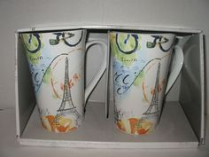Coffee Tall Latte Cup Mug Porcelain 16 oz. Paris Travels Box Set  222 Fifth NEW