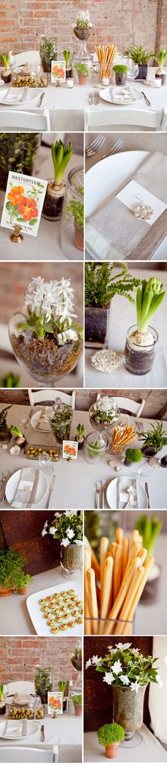 Love the Garden Tablscape. [via Brooklyn Bride. Photos by Tory Williams.]
