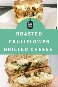 This hearty Roasted Cauliflower Grilled Cheese is stuffed with melty cheese, caramelized onions, and thinly sliced, crispy roasted cauliflower. #healthymealideas #grilledcheese #healthyeating Cauliflower Steaks, Roasted Cauliflower, Garlic Mayo, Grilled Sandwich, Whole Grain Bread, Slice Of Bread, Wrap Recipes, Roasted Vegetables, Caramelized Onions