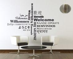 Bemvindo em várias linguas, vinil autocolante decorativo para decoração de paredes.