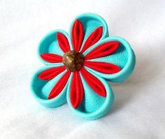 Tsumami Kanzashi Ring Aqua and Red. $18.00, via Etsy.
